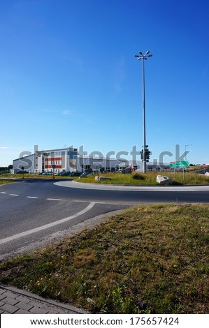 GADKI, POLAND - SEPTEMBER 03, 2013: Roundabout leading to different company areas