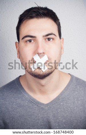 gagged with duct tape - stock photo