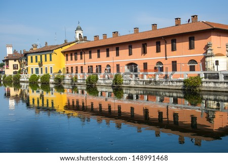 Gaggiano (Milan, Lombardy, Italy) - Old colorful houses over the Naviglio Grande
