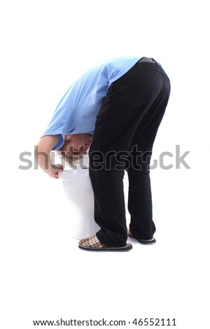 Gagging at toilet - stock photo