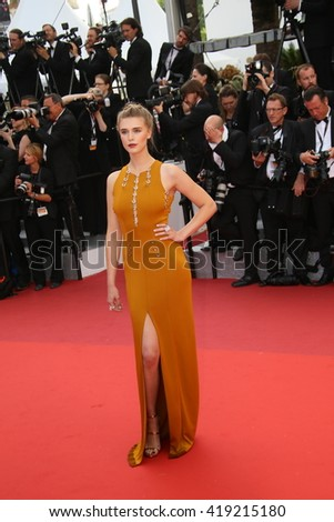 Gaia Weiss attends the 'Cafe Society' premiere and the Opening Night Gala during the 69th Cannes Film Festival at the Palais des Festivals on May 11, 2016 in Cannes, France. - stock photo