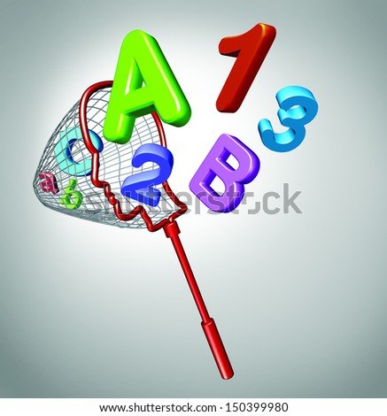 Gain knowledge and acquiring education concept with a net shaped as a human head catching flying letters and numbers as a symbol of school learning for children and adult students in math or reading. - stock photo