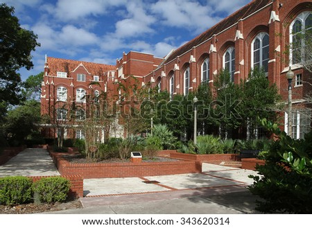 GAINESVILLE, FLORIDA, USA - November 20, 2015:  Historic Criser Hall, the Administrative Student Services Center at the University of Florida in Gainesville. - stock photo