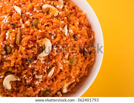 Gajar halwa or carrot halwa,, famous indian dessert made using carrot ...