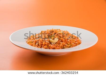 Gajar halwa or carrot halwa,, famous indian dessert made using carrot ...