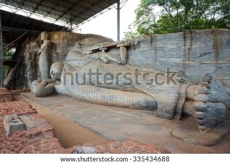 Gal Viharaya buddha statues in Polonnaruwa, Sri Lanka. - stock photo