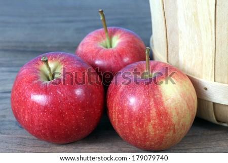 gala apple beside of bucket on table - stock photo