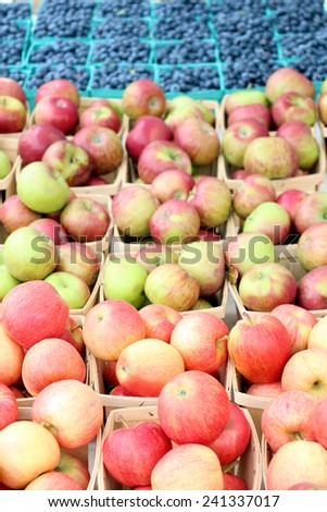 gala apple (focus on second row from the front) with blurry background