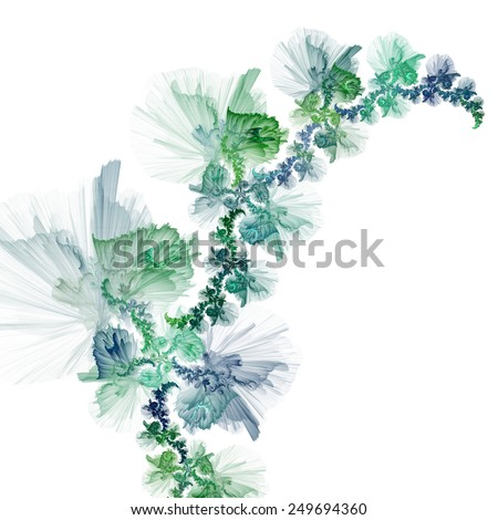 Galactic flowers with the background of a golden cosmic yarn  - stock photo