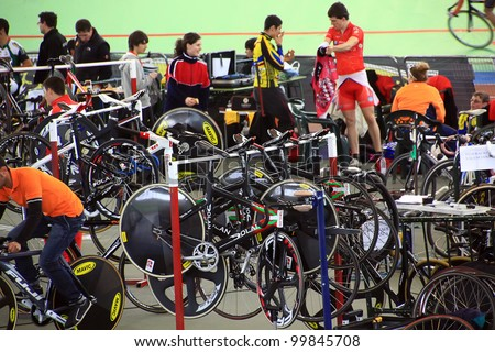 GALAPAGAR, SPAIN APRIL 6 -  cyclists and preparations for the championship race track cycling Spain - Indoor cycle track of Galapagar,Spain April 2012 - stock photo