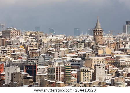 Galata and cityscape of Istanbul - stock photo