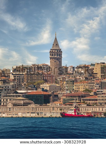 Galata Tower and Bosphorus in Istanbul Turkey - stock photo