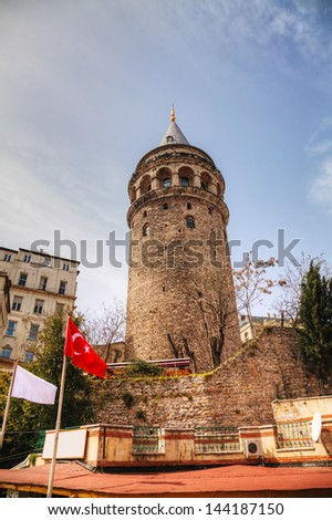 Galata Tower (Christea Turris) in Istanbul, Turkey on a sunny day - stock photo