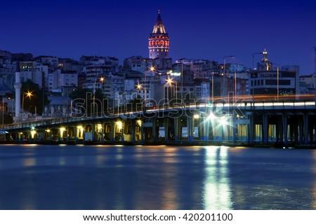 Galata Tower Galata Bridge istanbul - stock photo