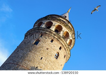 Galata Tower in Istanbul, Turkey - stock photo