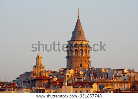 Galata Tower in Istanbul, Turkey. - stock photo
