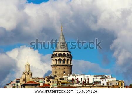 Galata Tower in Istanbul, Turkey. - stock photo
