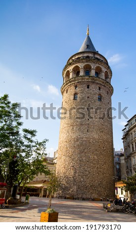 Galata tower is a famous landmark in the European side of Istanbul.