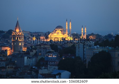 Galata tower istanbul at night / Turkey
