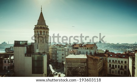 Galata Tower, Istanbul city stage - stock photo