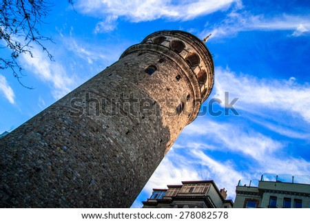 Galata Tower, Istanbul, Turkey. Galata Tower (Galata Kulesih) - Christea Turris is a medieval stone tower in Istanbul Turkey - stock photo