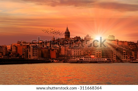 Galata Tower over the Golden Horn in Istanbul, Turkey - stock photo