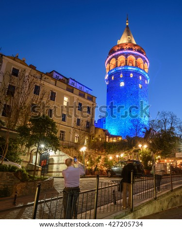 Galata Tower, the high strong-point in  Beyoglu, Istanbul, Turkey - stock photo
