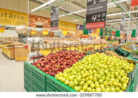 GALATI, ROMANIA - APRIL 04: Photos at Hypermarket Auchan grand opening in Galati, Romania on April 04, 2014