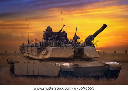 Galati, Romania - December 11: US tank Abrams A1M1 in military polygon in the exercise Platinum Lynx 16 on Galati, Romania, 11 December 2015