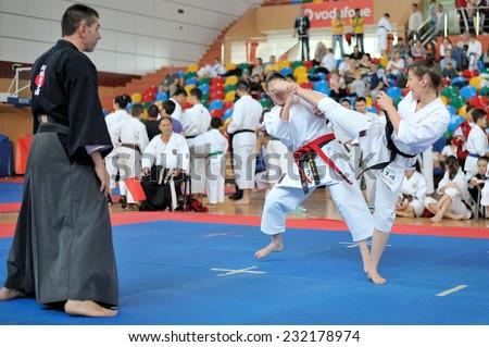 GALATI, ROMANIA - MAY 30: Contestants participating in the European Karate Championship Fudokan 2014 in Galati, Romania on May 30, 2014. - stock photo