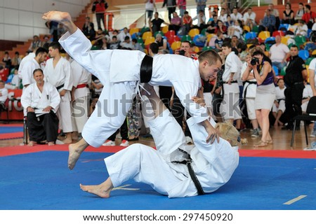 GALATI, ROMANIA - MAY 30: Contestants participating in the European Karate Championship Fudokan 2014 in Galati, Romania on May 30, 2014