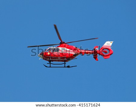 GALATI, ROMANIA - MAY 3, 2016. SMURD helicopter in mission. SMURD is an emergency rescue service based in Romania.