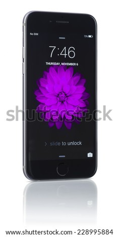 Galati, Romania - November 6, 2014: Apple Space Gray iPhone 6 showing blank screen. Apple released the iPhone 6 and iPhone 6 Plus on September 9, 2014. - stock photo