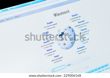 GALATI, ROMANIA - NOVEMBER 3, 2014: Computer opened to Wikipedia homepage. Wikipedia is a free multilingual internet encyclopedia that was launched in 2001. - stock photo
