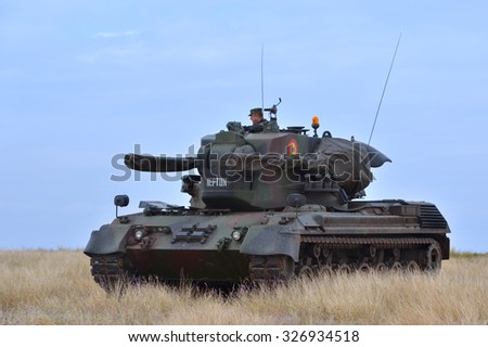 GALATI, ROMANIA - OCTOBER 8: Romanian infantry combat vehicle Self-propelled anti-aircraft gun in Romanian military polygon in the exercise Smardan Danube Express 14 on Galati, Romania, 8 october 2014