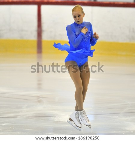 Galati, Romania - October 24: Unknown skater competing in the event ''Cristal skate'' of Romania, on 24 October, 2014, in Galati, Romania - stock photo