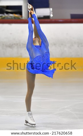 Galati, Romania - October 24: Unknown skater competing in the event ''Cristal skate'' of Romania, on 24 October, 2013, in Galati, Romania - stock photo