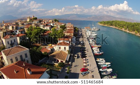 Galaxidi traditional village port aerial view, Fokida, Greece drone photography