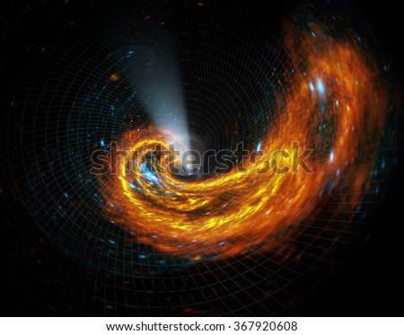 Galaxy falls into a black hole.The fictional events. Elements of this image furnished by NASA - stock photo