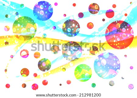Galaxy. Many colored spheres like planets in universe. - stock photo