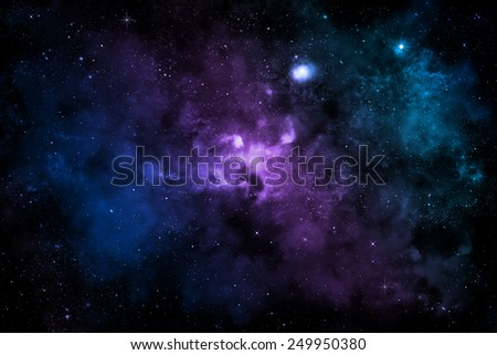galaxy with colorful nebula, shiny stars and heavy clouds - stock photo