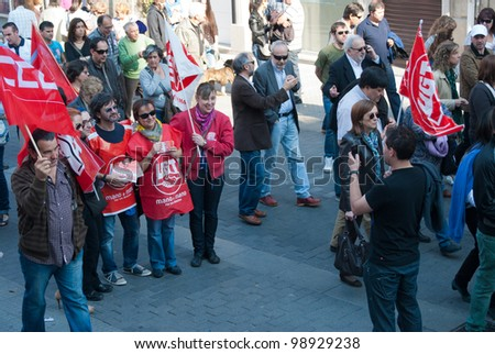 GALICIA, SPAIN - MARCH 29: General strike in Spain, Labor unions in protest demonstration  to the Labor Reform approved by the Government of Spain on March 29, 2012 in Pontevedra, Spain.