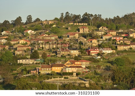 Galician countryside, village sparsely populated. Pontecaldelas - stock photo