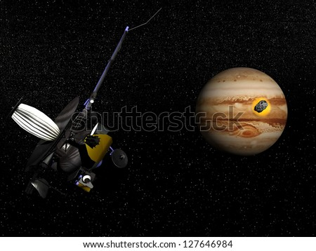 Galileo spacecraft observing comet Shoemaker-Levy 9 crashing into Jupiter in the universe. Elements of this image furnished by NASA - stock photo