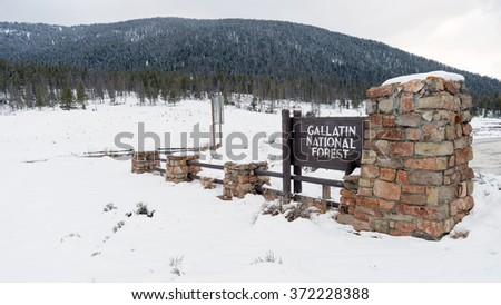 Gallatin National Forest Wyoming Entry Sign Territory United States - stock photo