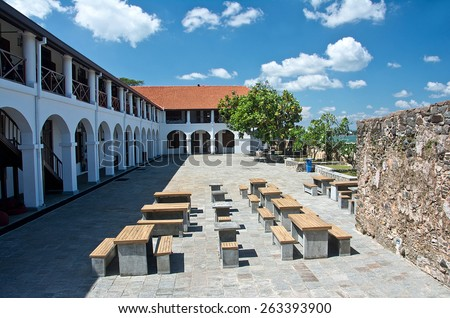 Galle Fort Dutch Hospital Shopping Precinct. Galle Dutch Fort 17th Centurys Ruined Dutch Castle That Is Unesco Listed As A World Heritage Site In Sri Lanka - stock photo
