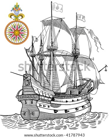 Galleon and compass - stock photo
