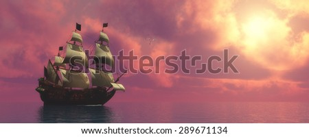 Galleon Ship with Sails - Sunset skies find a galleon ship sailing on rosy ocean waters to a far port destination. - stock photo