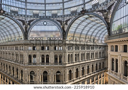 Galleria Umberto I, it is a public shopping gallery in Naples, southern Italy.