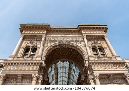 Galleria Vittorio Emanuele II, one of the world's oldest shopping malls. - stock photo